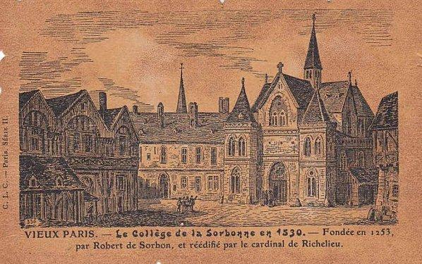 La Sorbonne tel qu'on la voyait en 1530. Les édifices universitaires changent, mais les étudiants essayent encore de refaire le monde...